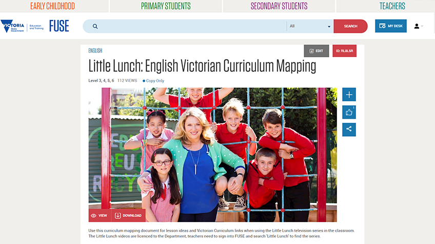 Little Lunch Series and Resources Available in Victoria's FUSE Portal